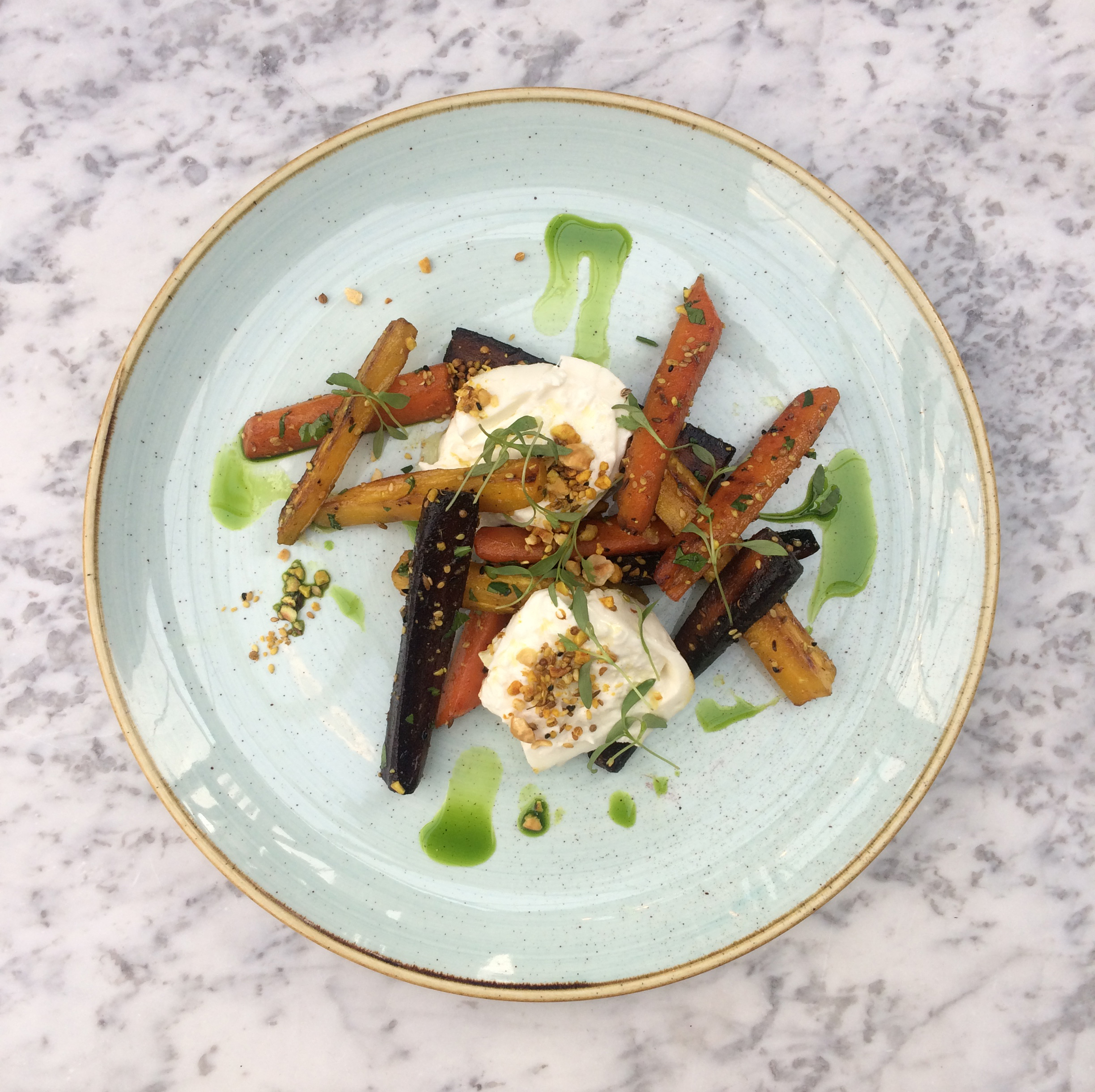 BURATTA WITH ROASTED HERITAGE CARROTS & DUKKAH